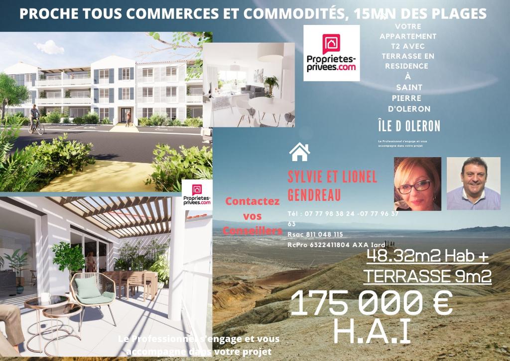 Dept 17 - Île d'Oléron - Saint Pierre d'Oléron - Appartement 2 pièce(s) 48.32 m2 avec Terrasse 9 m2