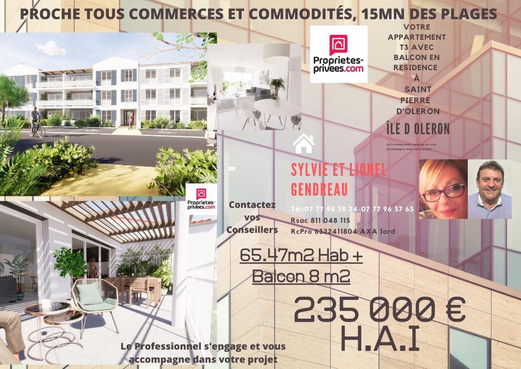 Dept 17 - Île d'Oléron - Saint Pierre d'Oléron - Appartement 3 pièce(s) 65.47 m2 avec Balcon 8m2