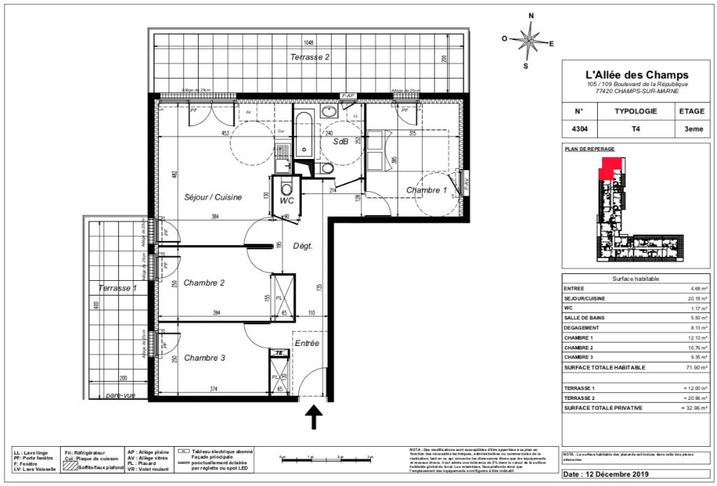 Appartement T4 Attique - terrasse - 71m2 - 77420 CHAMPS SUR MARNE