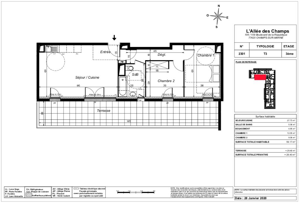 Appartement T3 Attique - terrasse - 59m2 - 77420 CHAMPS SUR MARNE