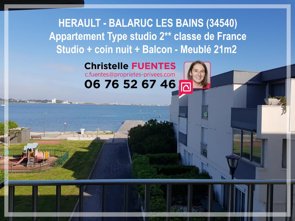 HERAULT - BALARUC LES BAINS - STUDIO 21M2 BALCON - VUE ETANG DE THAU