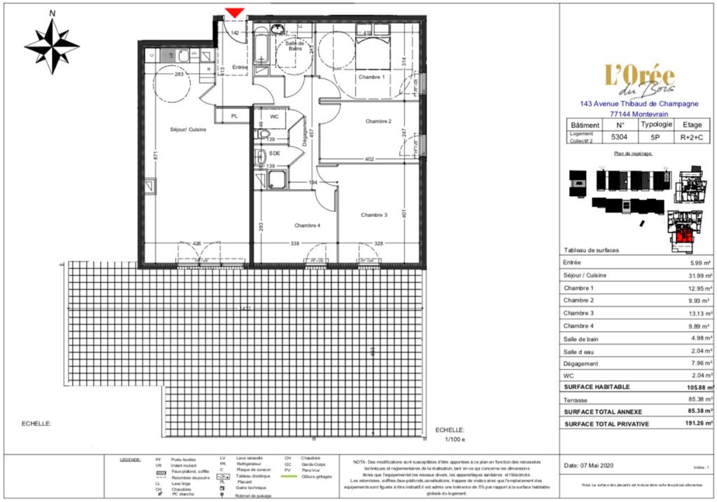 Appartement T5 Attique - terrasse - 105m2 - 77144 MONTEVRAIN