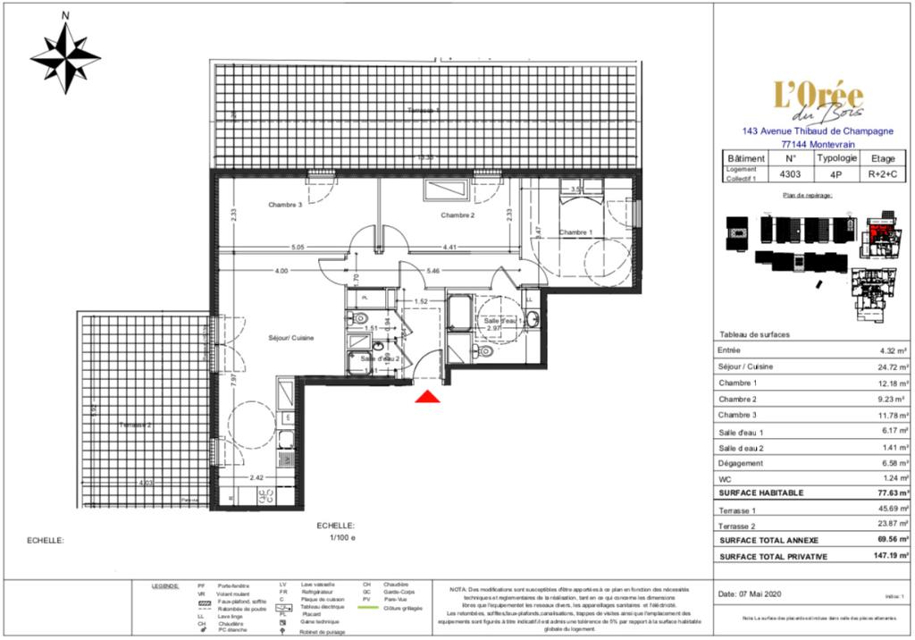 Appartement T4 Attique - 2 Terrasses - 77m2 - 77144 MONTEVRAIN