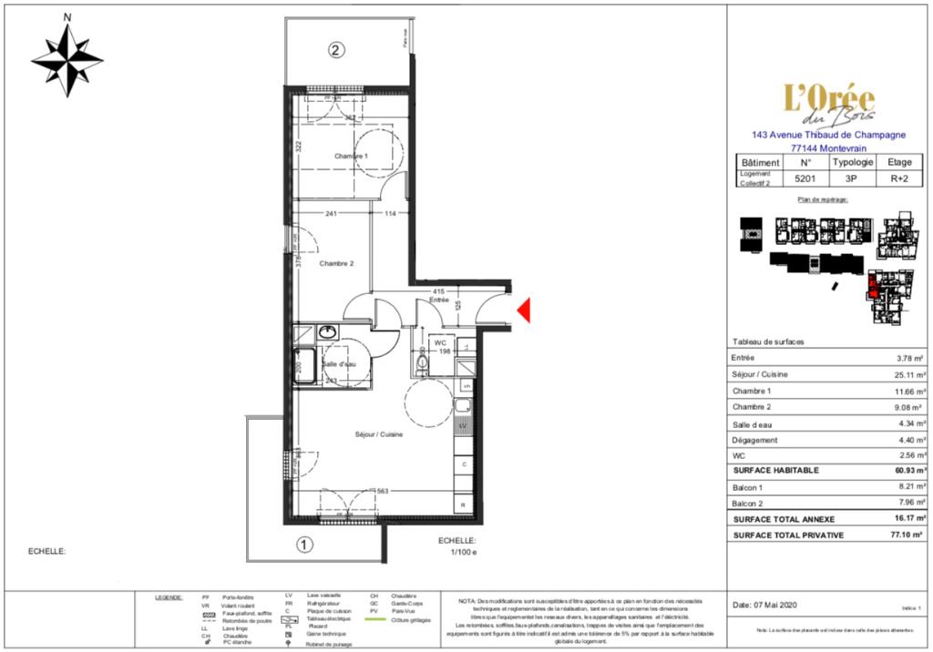 Appartement T3  - 2 Balcons - 77m2 - 77144 MONTEVRAIN