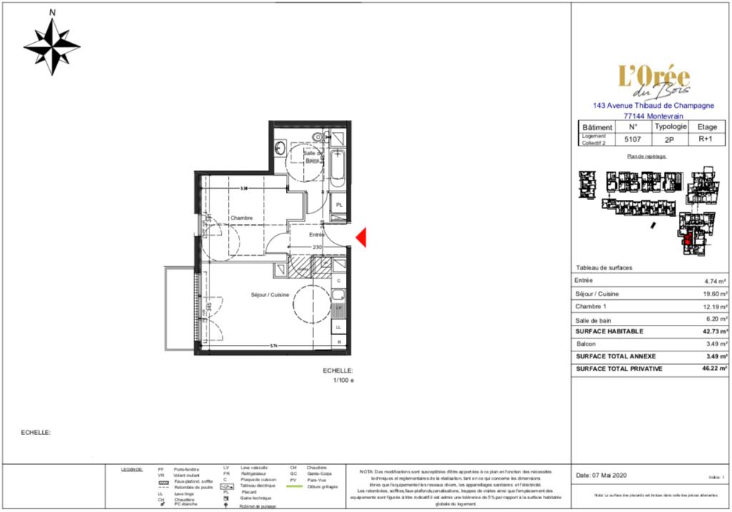 Appartement T2 - 2 Balcons - 42m2 - 77144 MONTEVRAIN
