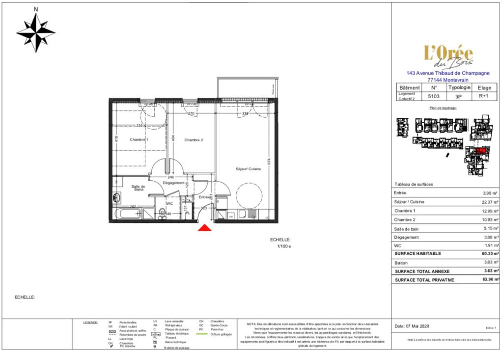 Appartement T3  - 60m2 - 77144 MONTEVRAIN
