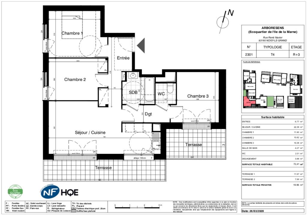 Appartement T4 - 72m2 - NOISY LE GRAND (93160)