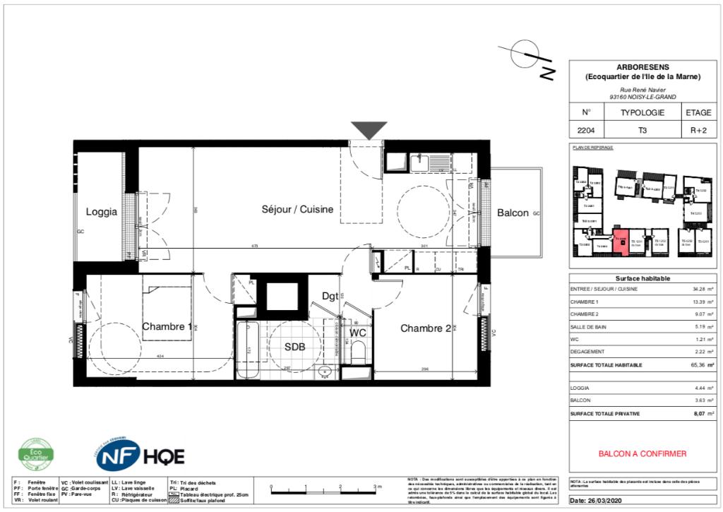 Appartement T3 - 65m2 - NOISY LE GRAND (93160)