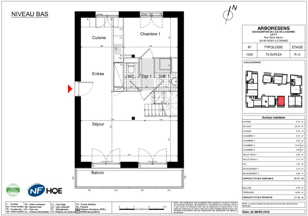 Appartement T5 duplex - 98m2 - NOISY LE GRAND (93160)