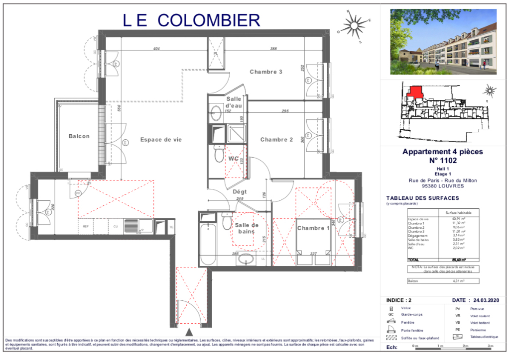 Appartement T4 - 85m2 - 95380 LOUVRES
