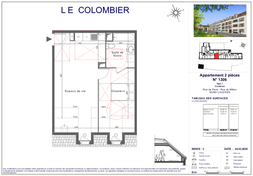 Appartement T2 - 46m2 - 95380 LOUVRES