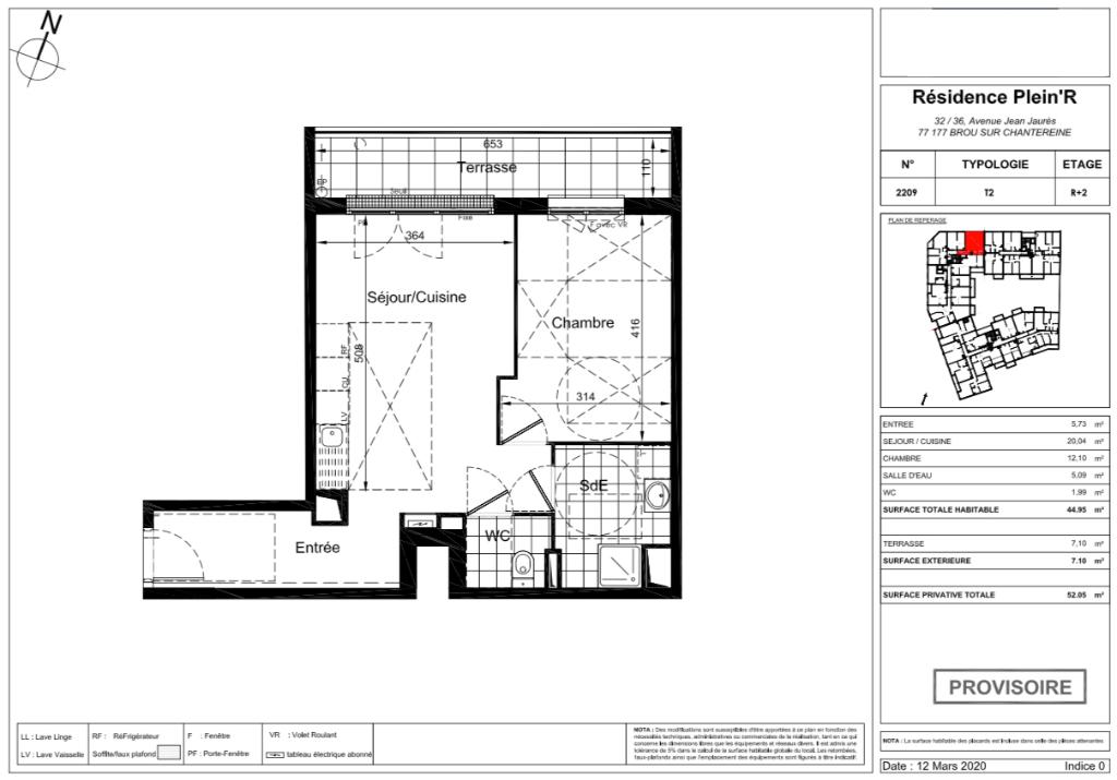 Appartement T2  - 45m2 - 77177 BROU SUR CHANTEREINE