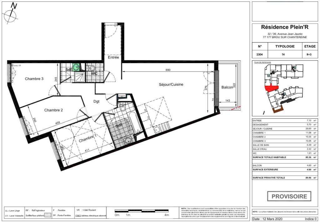Appartement T4 attique - 85m2 - 77177 BROU SUR CHANTEREINE