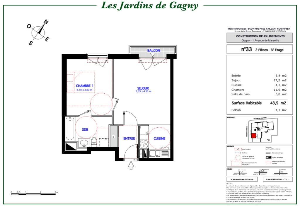 Appartement T2 - 43m2 - 93150 GAGNY