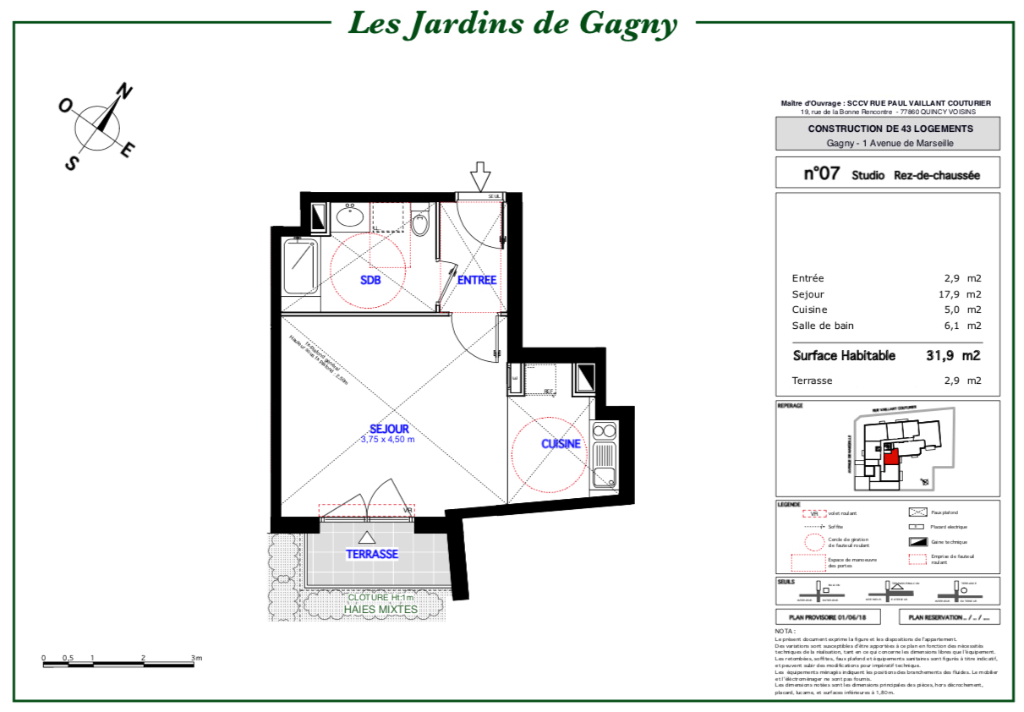 Appartement T1 - 32m2 - 93150 GAGNY
