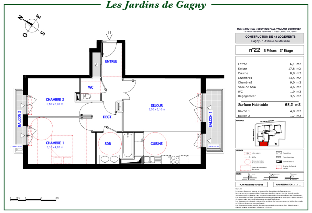 Appartement T3 - 65m2 - 93150 GAGNY