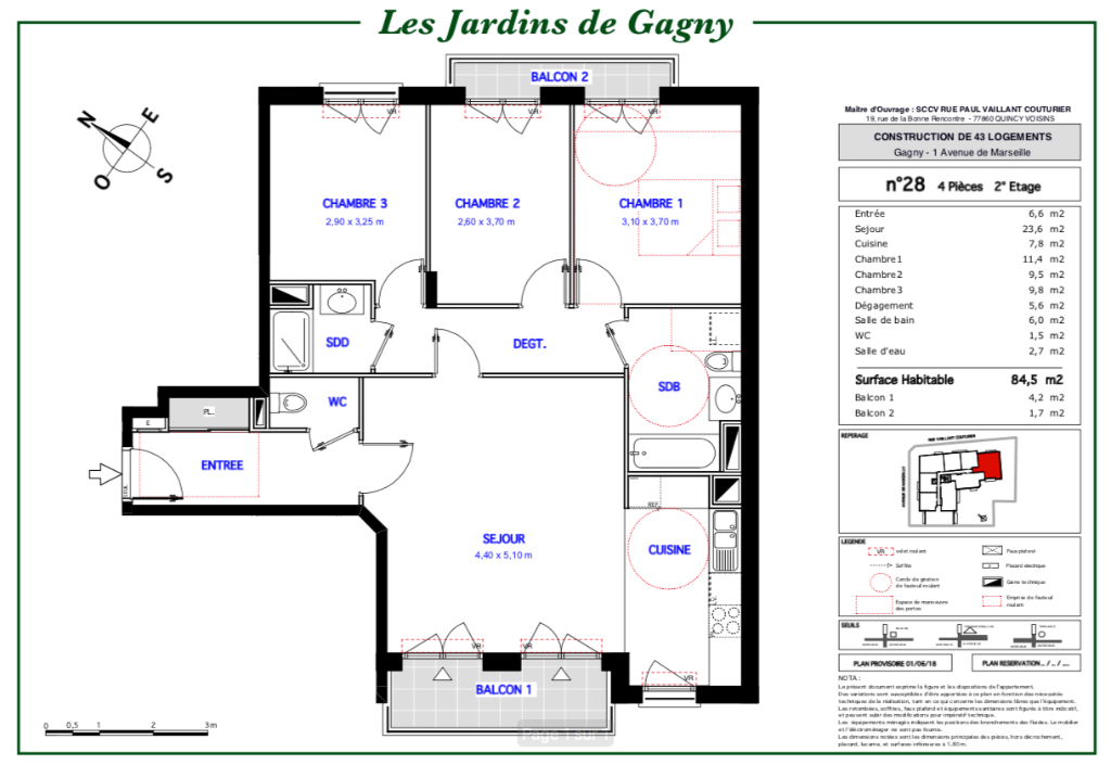 Appartement T4 - 84m2 - 93150 GAGNY