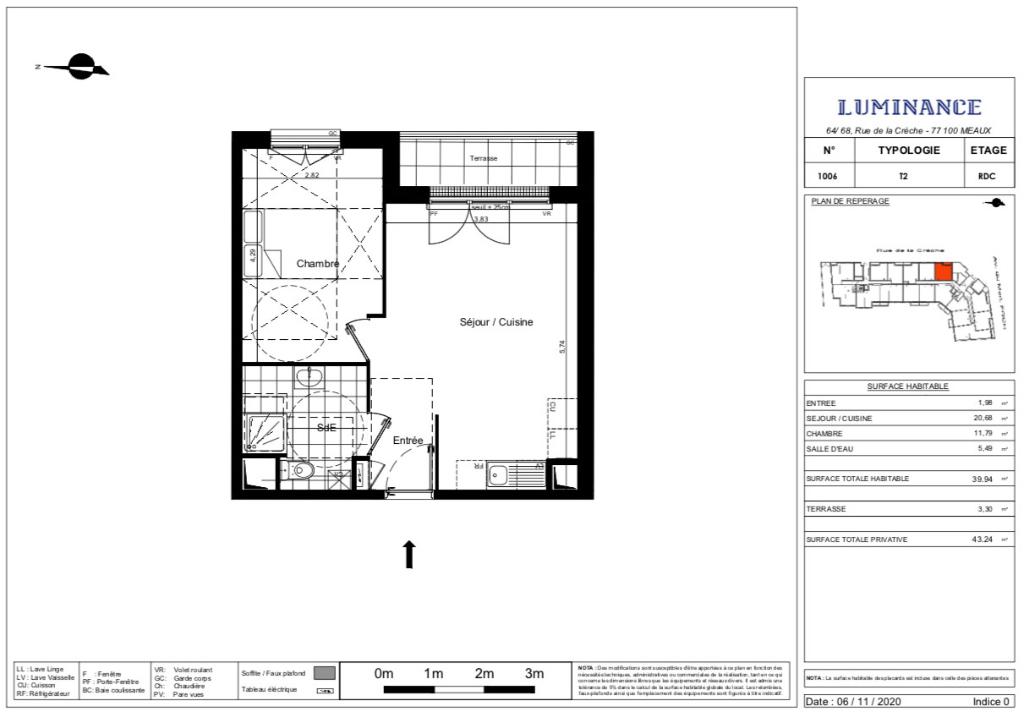 Appartement T2 - 40m2 - terrasse - MEAUX (77100)