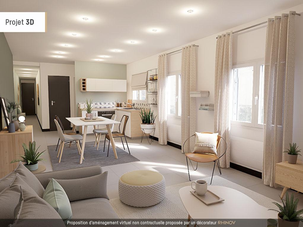 Plain-pied individuel rénové, 2 chambres, garage, jardin